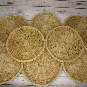 """Lot 8 Natural Wicker 8 7/8"""" Paper Plate Holders"""
